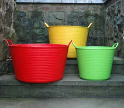 LARGE ASSORTED COLOR TRUG TUBS SET/10